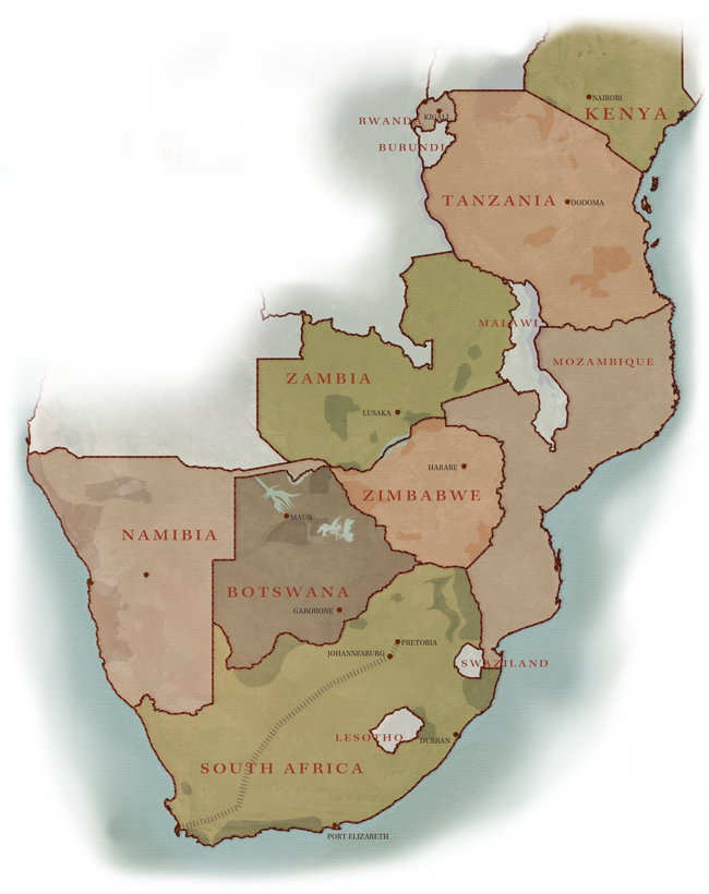 Southern Africa Safari Destinations Map